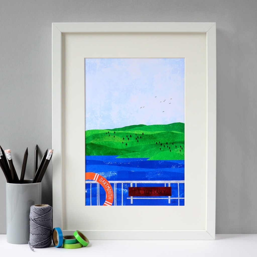 Tom Casey Ferry, Devon, Art Print - Fiona Clabon Illustration