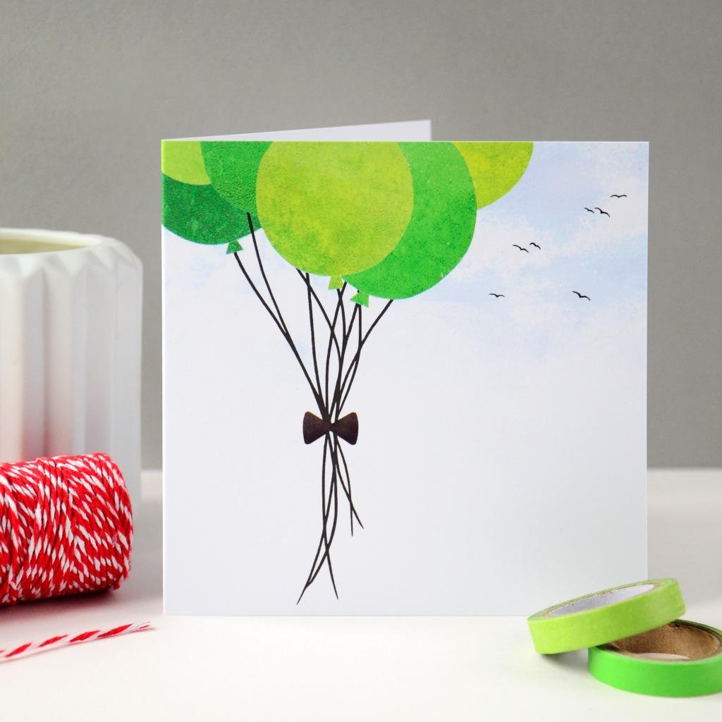 Green Birthday Balloons Greeting Card